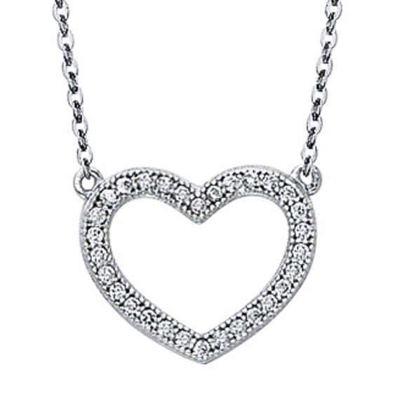Jewelry - 14k solid white gold open heart Pendant Necklace